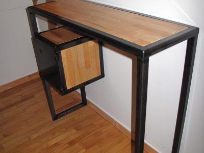 console m tal design style industriel loft bretagne bois soudure atypique. Black Bedroom Furniture Sets. Home Design Ideas